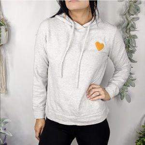 LOU & GREY Sweatshirt Gray Heart Embroidered